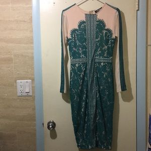 Worn once, green lace over nude layer